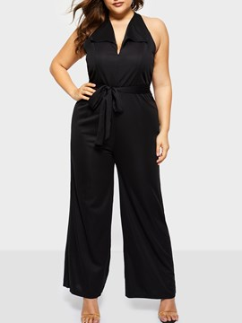 Ericdress Sexy Plain Full Length Loose Wide Legs Jumpsuits