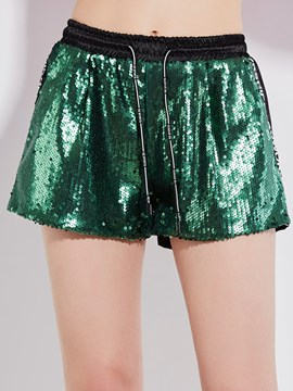 Slim Letter Print Sequins Women's Shorts