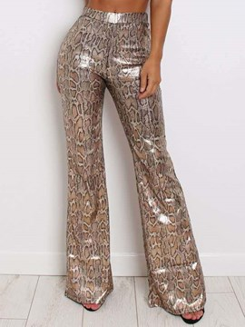 Ericdress Snake Print Slim Bellbottoms Full Length Casual Pants