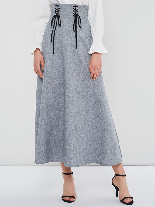 Ericdress Plain Mid-Calf A-Line High-Waist Skirt