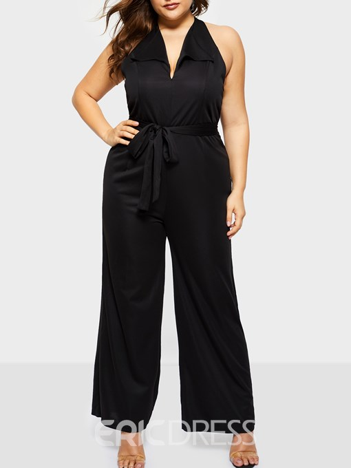 Ericdress Plus Size Sexy Plain Full Length Loose Wide Legs Jumpsuit