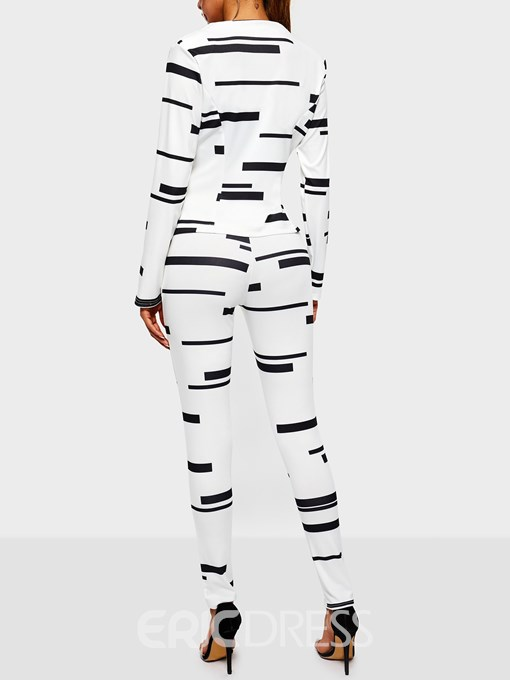 Ericdress Striped Print Stretchy Color Block Two Piece Sets