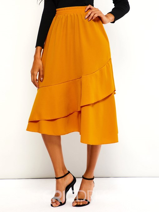 Ericdress Mid-Calf Patchwork Plain High-Waist Casual Skirt