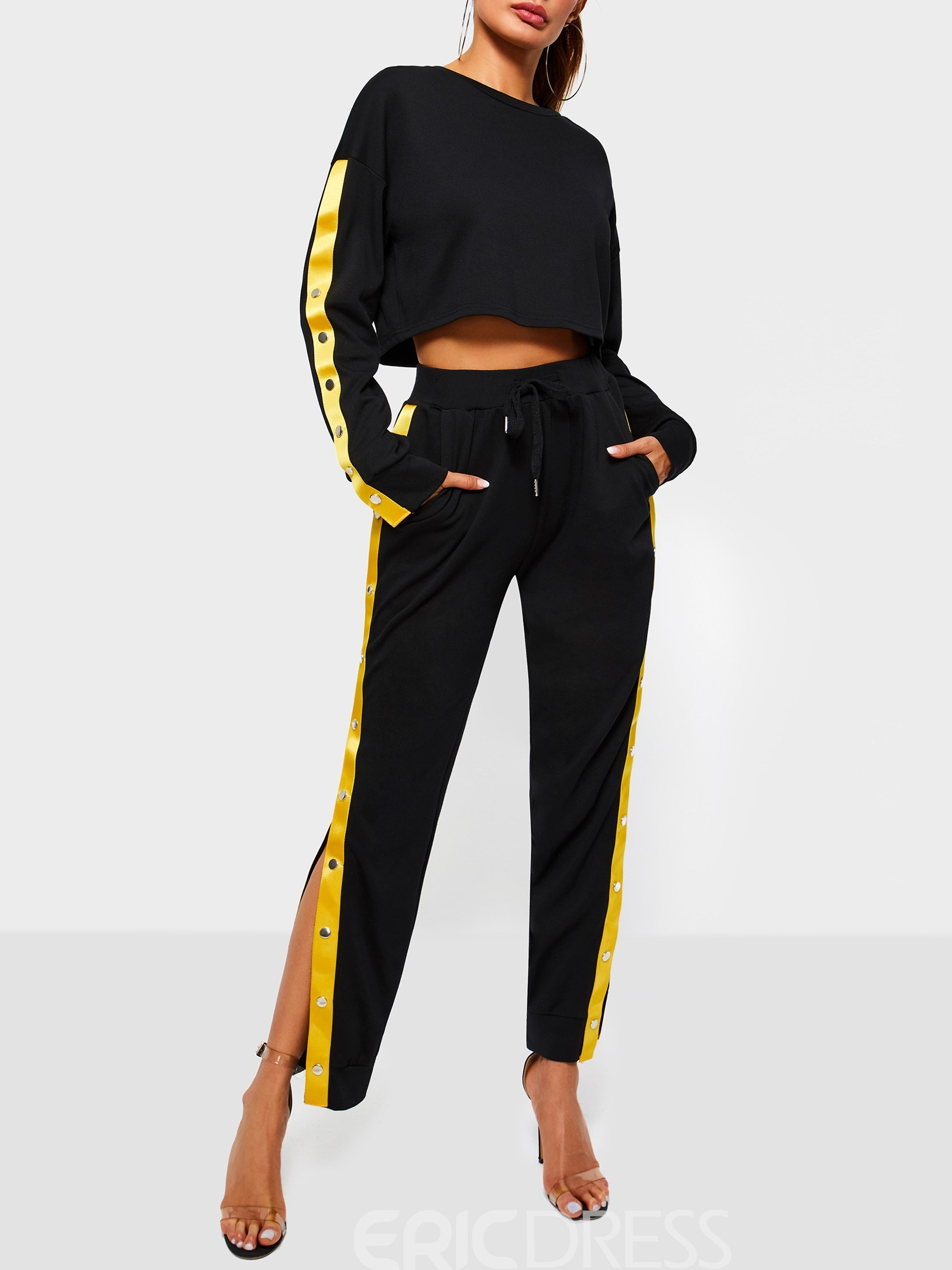 Ericdress Color Block Lace-Up Slit T-Shirt and Pants Women's Two Piece Sets