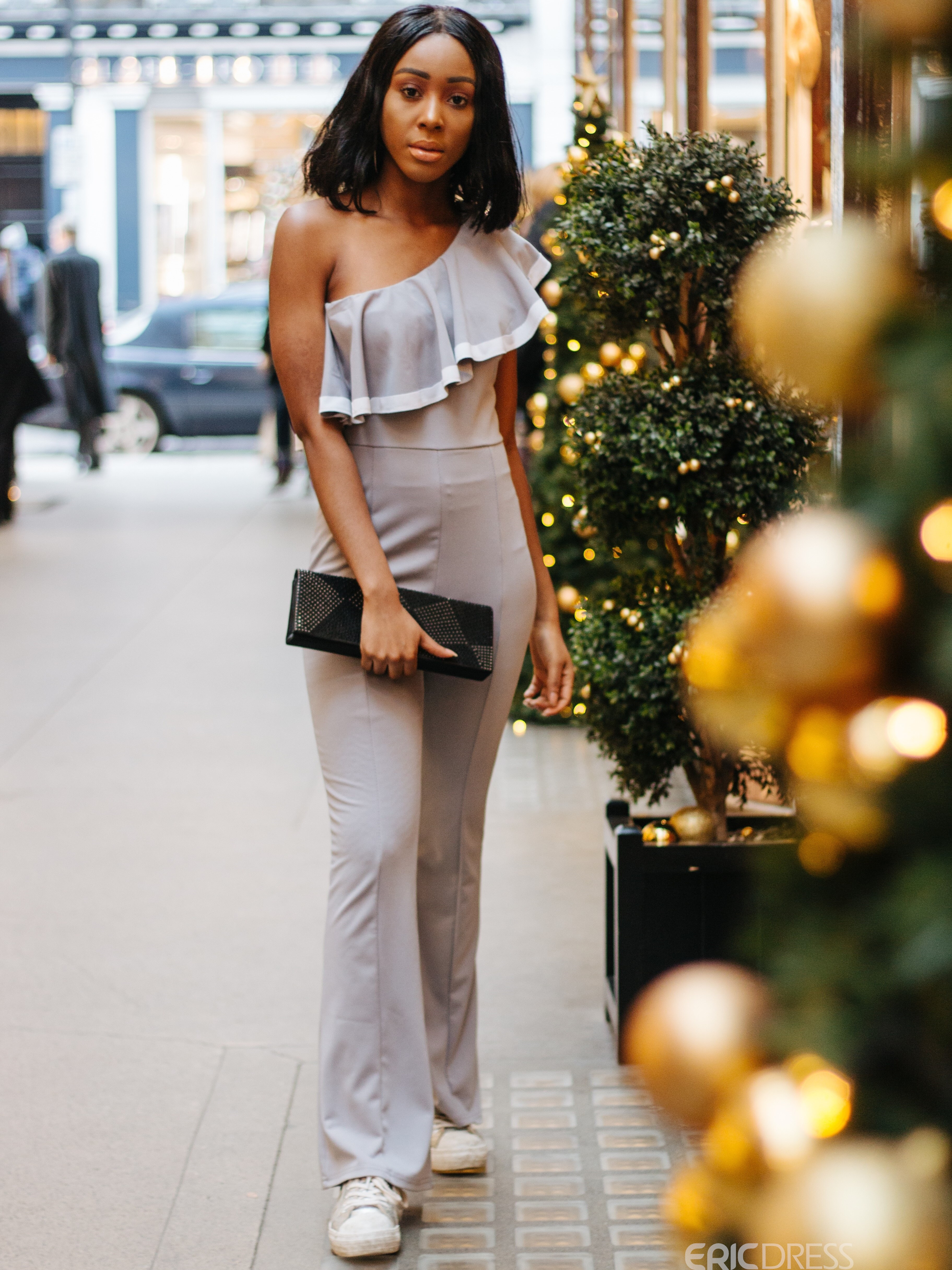 Ericdress Pleated Asymmetric Bellbottoms Jumpsuits Pants
