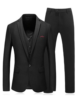 Ericdress Plain 3 Pieces Mens Casual Formal Dress Suit