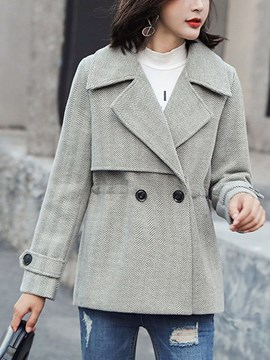Ericdress Double-Breasted Slim Regular Standard Notched Lapel Overcoat