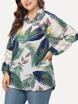 Ericdress Plant Print Nine Points Sleeve Mid-Length Blouse