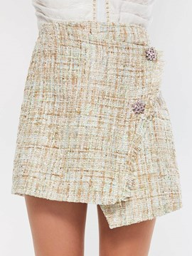 Ericdress Asymmetric Plaid Button Plain High-Waist Mini Skirt
