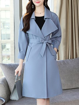 Ericdress Belt Long Double-Breasted Fall Office Lady Trench Coat