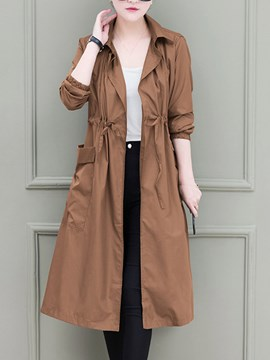 Ericdress Long Long Sleeve Regular Trench Coat