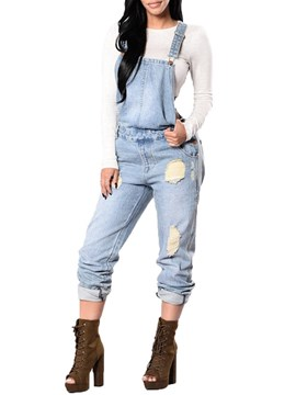 Ericdress Plain Ripped Denim Loose Mid-Waist Suspenders