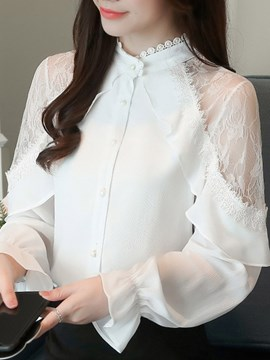 Ericdress Flare Sleeve Lace Stand Collar Long Sleeve Standard Blouse