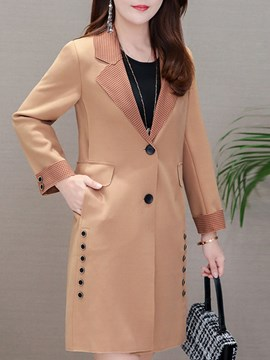 Ericdress Notched Lapel Mid-Length Single-Breasted Long Sleeve Regular Trench Coat
