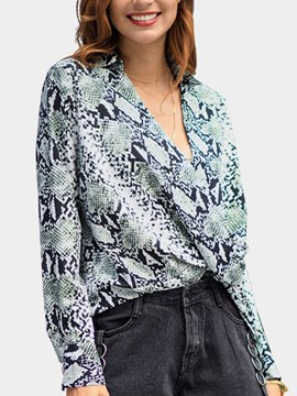 Ericdress V-Neck Serpentine Print Mid-Length Long Sleeve Blouse
