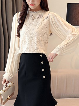 Ericdress Lace Lantern Sleeve Standard Long Sleeve Blouse