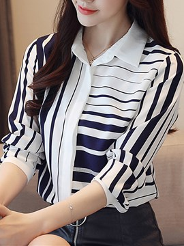 Ericdress Lapel Stripe Regular Long Sleeve Standard Blouse