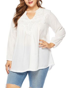 Ericdress Hollow Plain V-Neck Mid-Length Long Sleeve Blouse