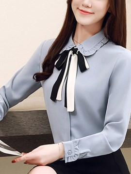 Ericdress Peter Pan Collar Regular Bowknot Long Sleeve Standard Blouse