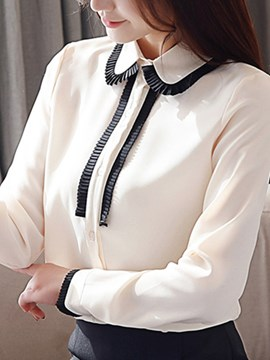 Ericdress Color Block Peter Pan Collar Regular Standard Long Sleeve Blouse