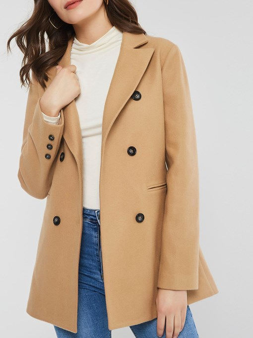 Ericdress Slim Double-Breasted Button Mid-Length Winter Overcoat