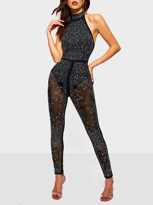 Ericdress Sequins See-Through Sexy Stretchy Slim Women's Jumpsuit