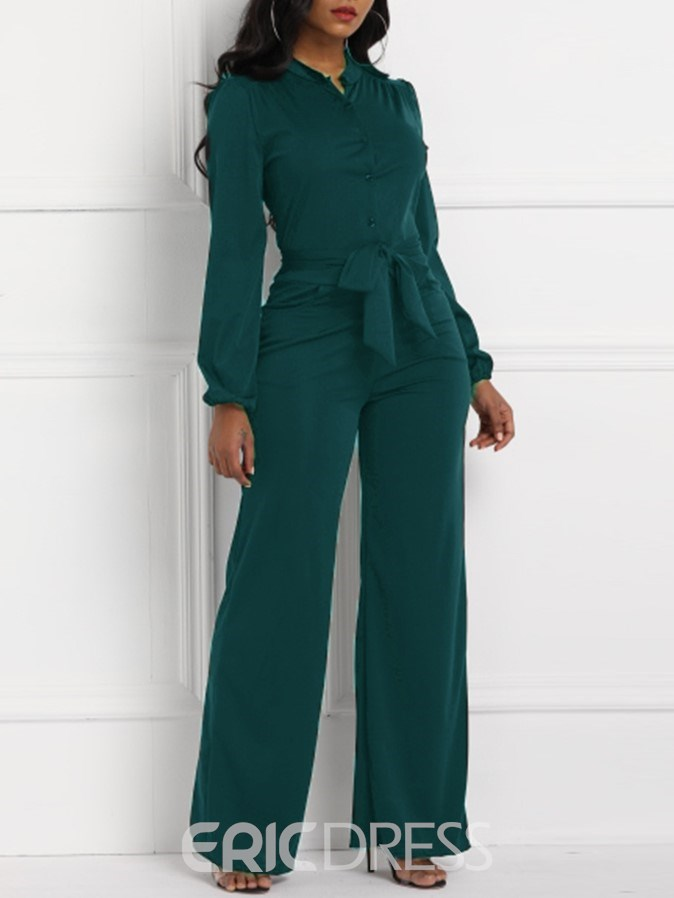 Ericdress Plain Pockets buttons Slim High-Waist Jumpsuits