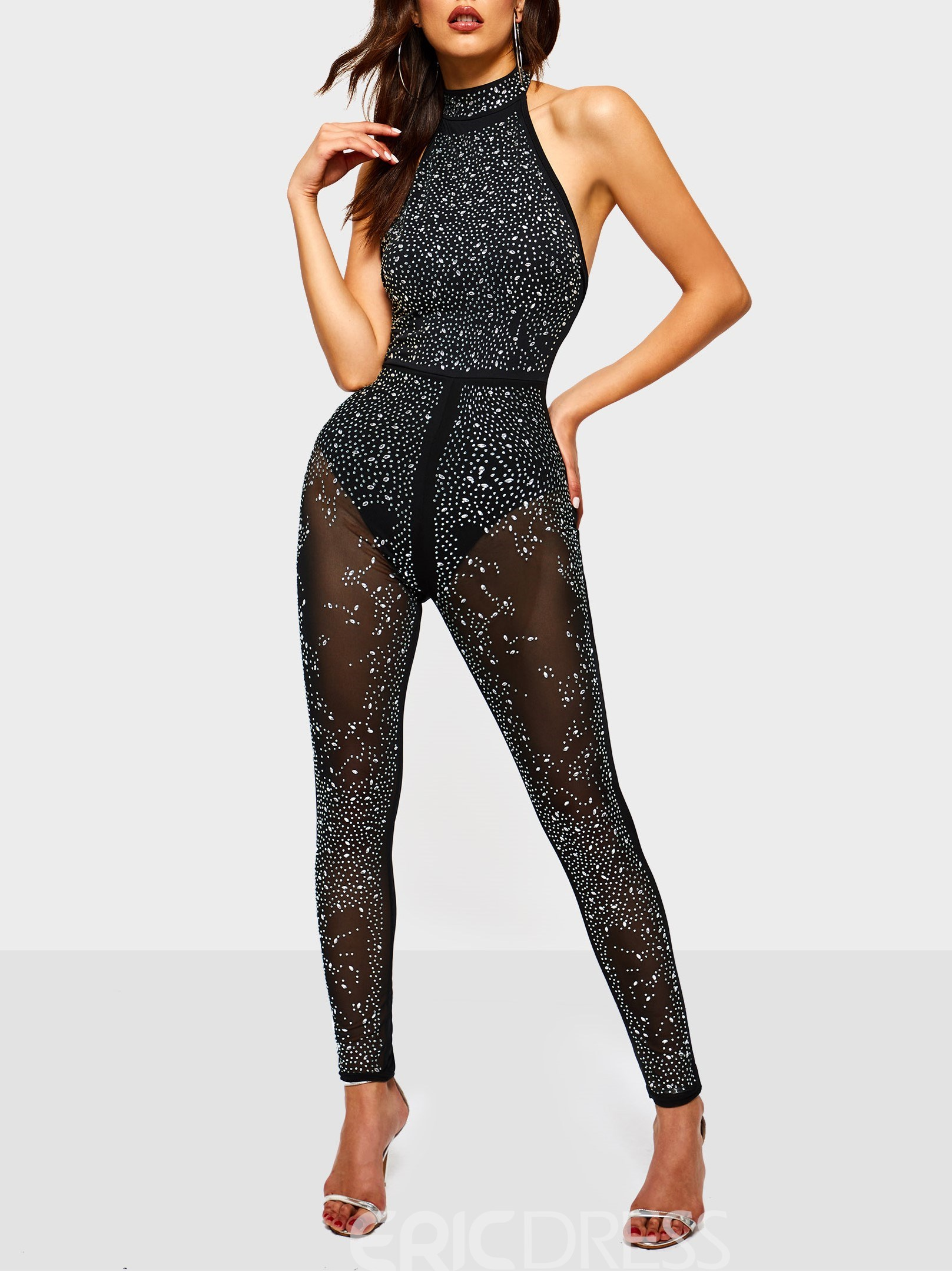 Ericdress Sequins See-Through Sexy Stretchy Slim Women's Jumpsuits