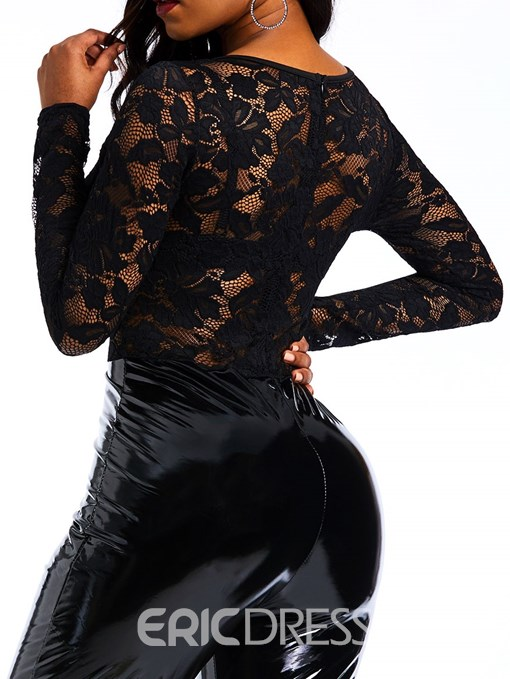 Ericdress See-Through Sexy Patchwork Lace PU Women's Jumpsuits
