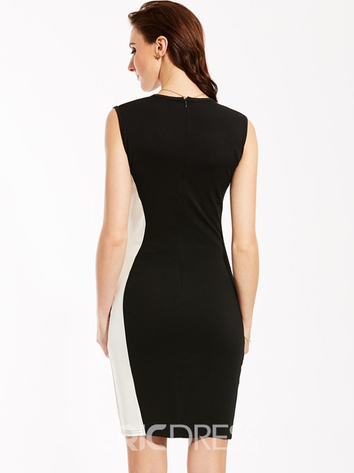 Ericdress Round Neck Sleeveless Color Block Bodycon Dress