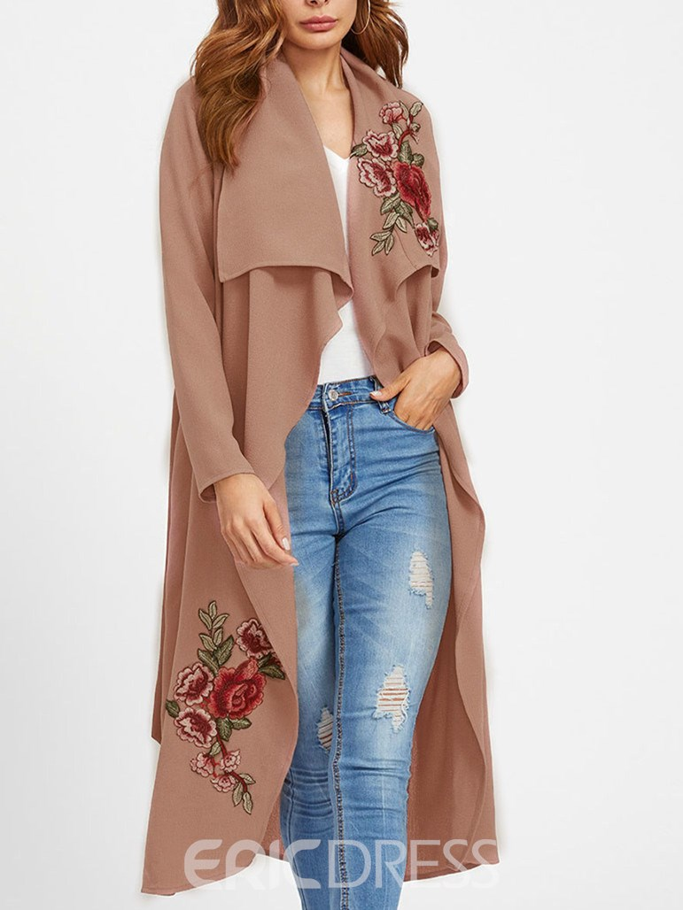 Ericdress Lapel Long Embroidery Long Sleeve Spring Trench Coat