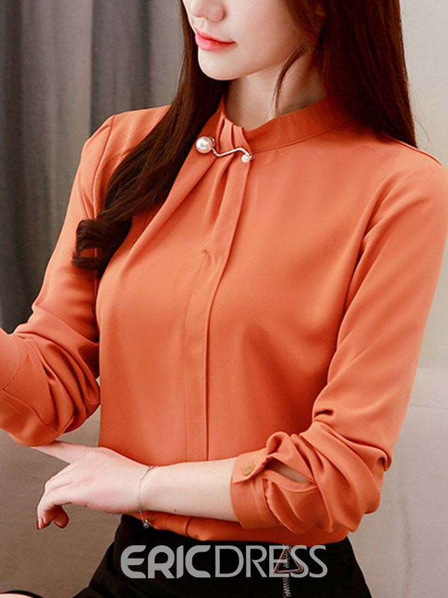 Ericdress Regular Plain Long Sleeve Standard Blouse