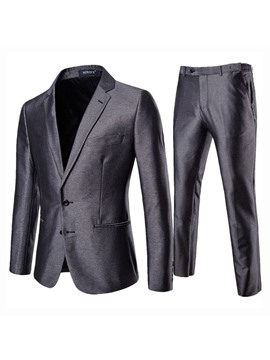 Ericdress Plain Single-Breasted Pocket Blazer Mens Casual Dress Suit