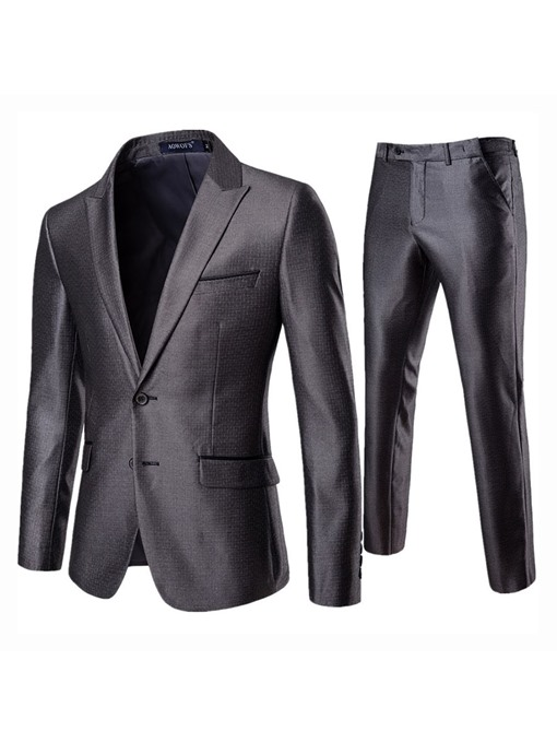 Ericdress Plain Blazer & Pants Mens Casual Dress Suit