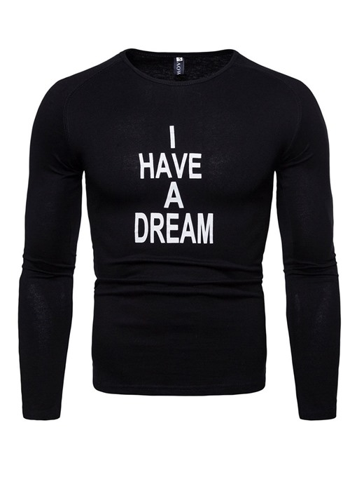 Ericdress Letter Printed Slim Long Sleeve Mens Casual T-shirt