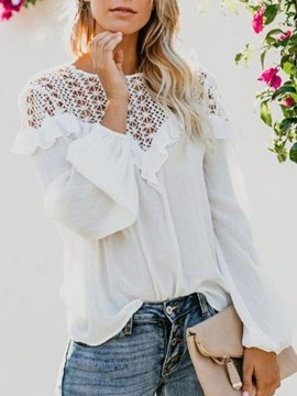 Ericdress Round Neck Lace Long Sleeve Blouse