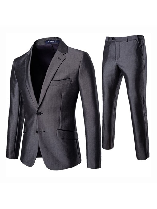 Ericdress Plain Single-Breasted Mens Dress Suit