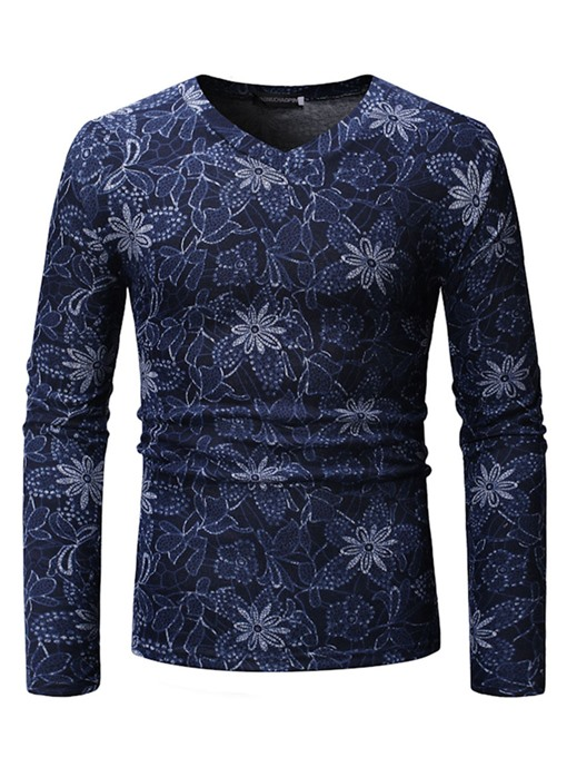 Ericdress Floral Printed V-Neck Long Sleeve Mens Casual T-shirt