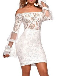 Ericdress Above Knee Lace Off Shoulder Mid Waist Plant Dress фото