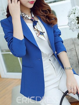 Ericdress Slim Plain Single Button Blazer