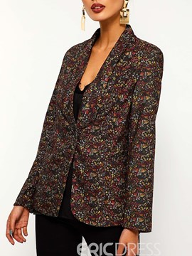 Ericdress Floral Shawl Collar One Button Fall Casual Blazer