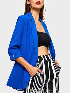 Ericdress Plain Three-Quarter Sleeve Notched Lapel Blazer