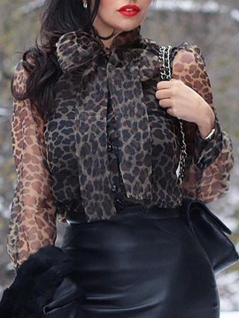 Ericdress Lantern Sleeve Leopard Lace-Up Standard Blouse