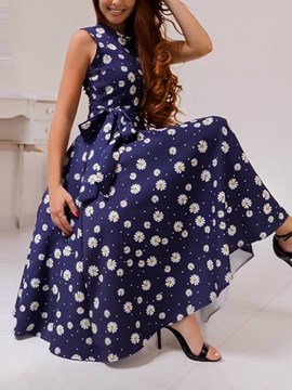 Ericdress Sleeveless Round Neck Print Western Expansion Dress
