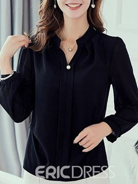 Ericdress V-Neck Office Lady Long Sleeve Blouse