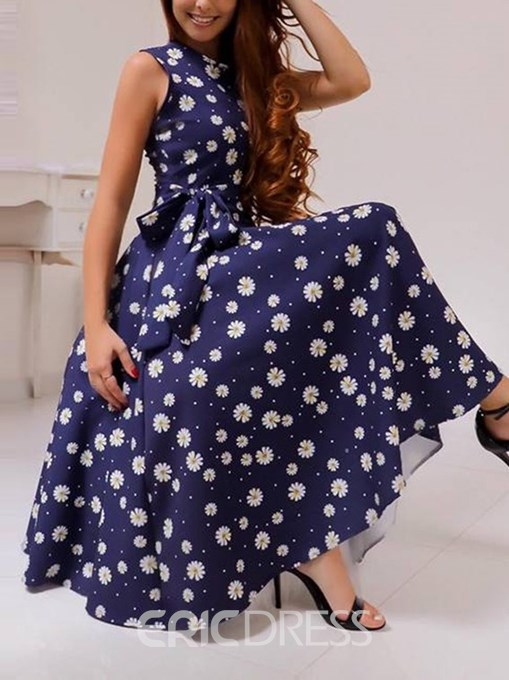 Ericdress Sleeveless Round Neck Print Expansion Dress