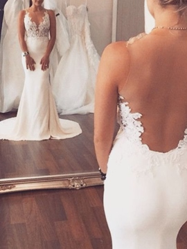 Ericdress Sheer Back Mermaid Appliques Wedding Dress
