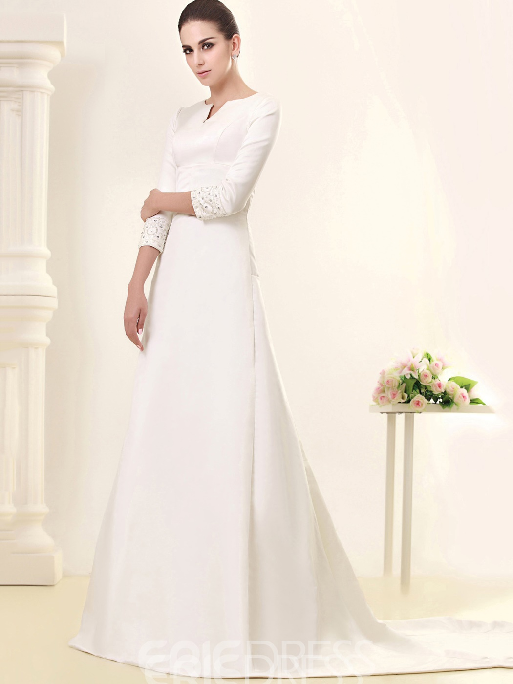 Ericdress Beading 3/4 Length Sleeve Vintage Wedding Dress