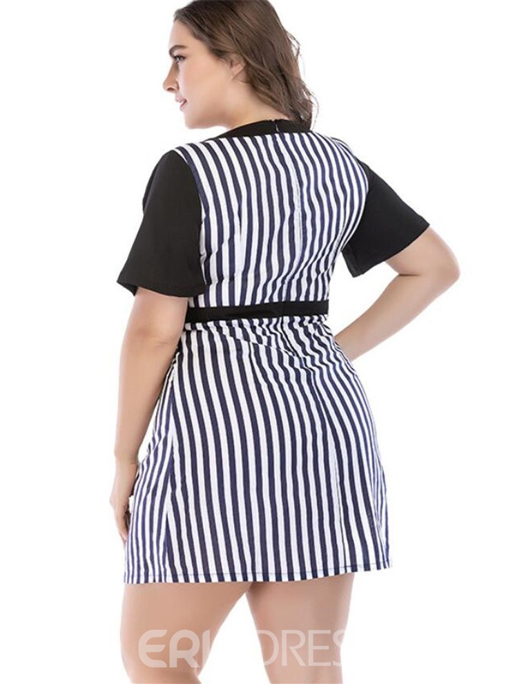 Ericdress Plus Size Short Sleeve Print Above Knee Stripe Pullover Dress