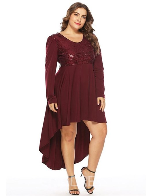 Ericdress Plus Size Long Sleeve Ankle-Length Round Neck Elegant Dress